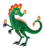 Dinosaure vert et papillon Photographie stock libre de droits