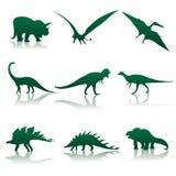dinosauren silhouettes vektorn stock illustrationer