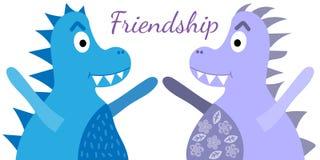 Dinosaures d'amitié, grande conception pour tous buts Dinosaure d'animal de bande dessinée Dinosaure mignon heureux illustration stock