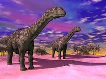 Dinosaures d'Argentinosaurus - 3D rendent Images stock