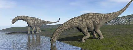 Dinosaures d'Argentinosaurus - 3D rendent Photographie stock libre de droits