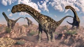 Dinosaures d'Argentinosaurus - 3D rendent Image libre de droits