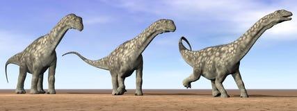 Dinosaures d'Argentinosaurus dans le désert - 3D rendent Photographie stock