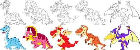 Dinosaures de bande dessinée réglés Image stock