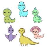 Dinosaures de Kawaii réglés Personnages de dessin animé illustration libre de droits