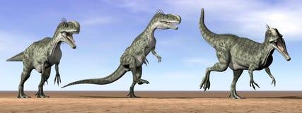 Dinosaures de Monolophosaurus dans le désert - 3D rendent Photos stock