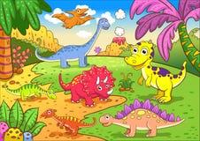 Dinosaures mignons dans la scène préhistorique Image stock