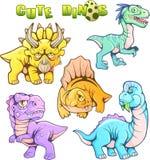 Dinosaures préhistoriques mignons, ensemble d'images drôles de vecteur Photo libre de droits