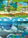 Dinosaures sous-marins heureux de bande dessinée Photos libres de droits