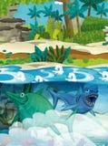 Dinosaures sous-marins heureux de bande dessinée Photographie stock