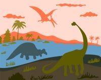 3 dinosaures sur la terre, l'eau et la terre illustration stock