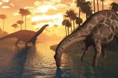 Dinosauri - alba di tempo Immagine Stock