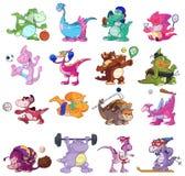 Dinosauri che giocano gli sport Fotografia Stock Libera da Diritti