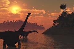 Dinosauri del Diplodocus al tramonto Fotografia Stock Libera da Diritti