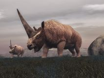 Dinosauri del mammifero di Elasmotherium - 3D rendono Immagine Stock Libera da Diritti