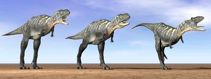 Dinosauri di Acasaurus nel deserto - 3D rendono illustrazione di stock