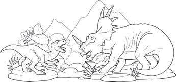 Dinosauri di battaglia Fotografie Stock