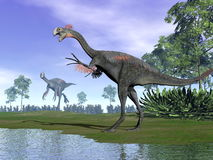 Dinosauri di Gigantoraptor in natura - 3D rendono Immagine Stock