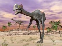 Dinosauri di Gigantoraptor nel deserto - 3D rendono Fotografia Stock