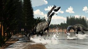 Dinosauri di Suchomimus che pescano pesce e squalo - 3D illustrazione vettoriale