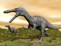 Dinosauri di Suchomimus - 3D rendono illustrazione di stock