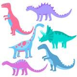Dinosauri disegnati a mano divertenti Metta dei fumetti Dino illustrazione di stock