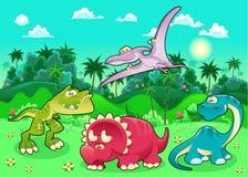 Dinosauri divertenti nella foresta. illustrazione di stock