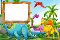 Dinosauri nel lago Fotografia Stock