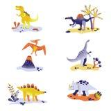 Dinosauri svegli isolati su fondo bianco Orma del dinosauro, vulcano, palma, pietre Bambino Dino Collection illustrazione vettoriale