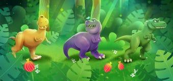 Dinosauri svegli sul periodo giurassico illustrazione di stock