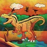 Dinosaurie i livsmiljön Illustration av tyrannosauren Royaltyfri Foto