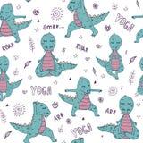 Dinosaurie i yogaasana stock illustrationer