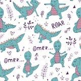 Dinosaurie i yogaasana vektor illustrationer