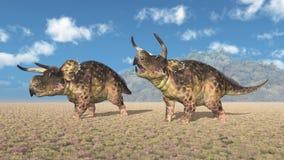 Dinosaurie Nasutoceratops i ett landskap royaltyfri bild