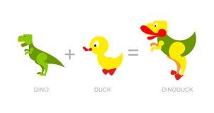 Dinosaurie och and Dino-and - ny art av dinosaurier kors stock illustrationer