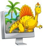 Dinosaurie på datorskärmen Arkivbilder
