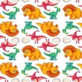 Dinosaurie på sömlös modell vektor illustrationer