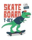 Dinosaurie på skateboarden stock illustrationer