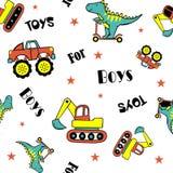Dinosaurie som spelar sparkcykeln och bilar stock illustrationer