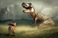 Dinosaurie Styracosaurus med tyrannosarien T-rex fotografering för bildbyråer