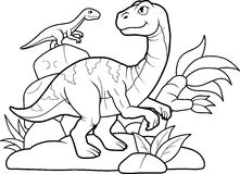 Dinosaurien mötte en vän Arkivfoton