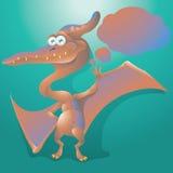 Dinosauriepteranodon med textbubblan Fotografering för Bildbyråer
