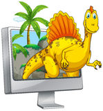Dinosaurier auf Bildschirm Stockbilder