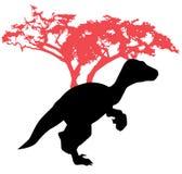 Dinosaurier auf hölzernem Hintergrund Stockbilder