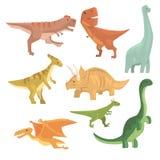 Dinosaurier av samlingen för Jurassic period av realistiska djur för förhistorisk slocknad jätte- reptiltecknad film Arkivbild