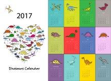 Dinosaurier calendar design 2017 Arkivfoto