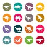 Dinosaurier cirklar den färgglade vektorsymbolsuppsättningen stock illustrationer