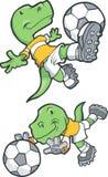 Dinosaurier, der Fußball spielt vektor abbildung