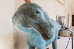Dinosaurier gekennzeichnet in einer Ausstellung gehalten in Gubbio, Italien lizenzfreie stockfotografie