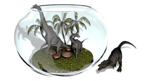 Dinosaurier i ett akvarium Arkivfoto